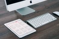 apple, desk, technology