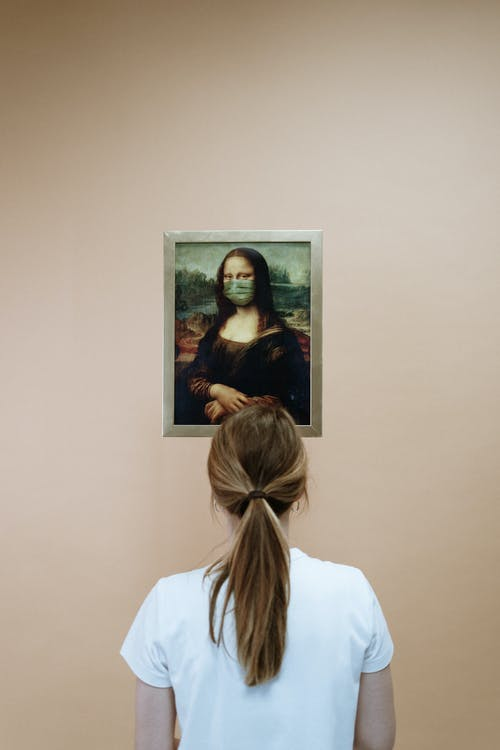 Woman in White Shirt Looking At A Painting Of Mona Lisa With Face Mask