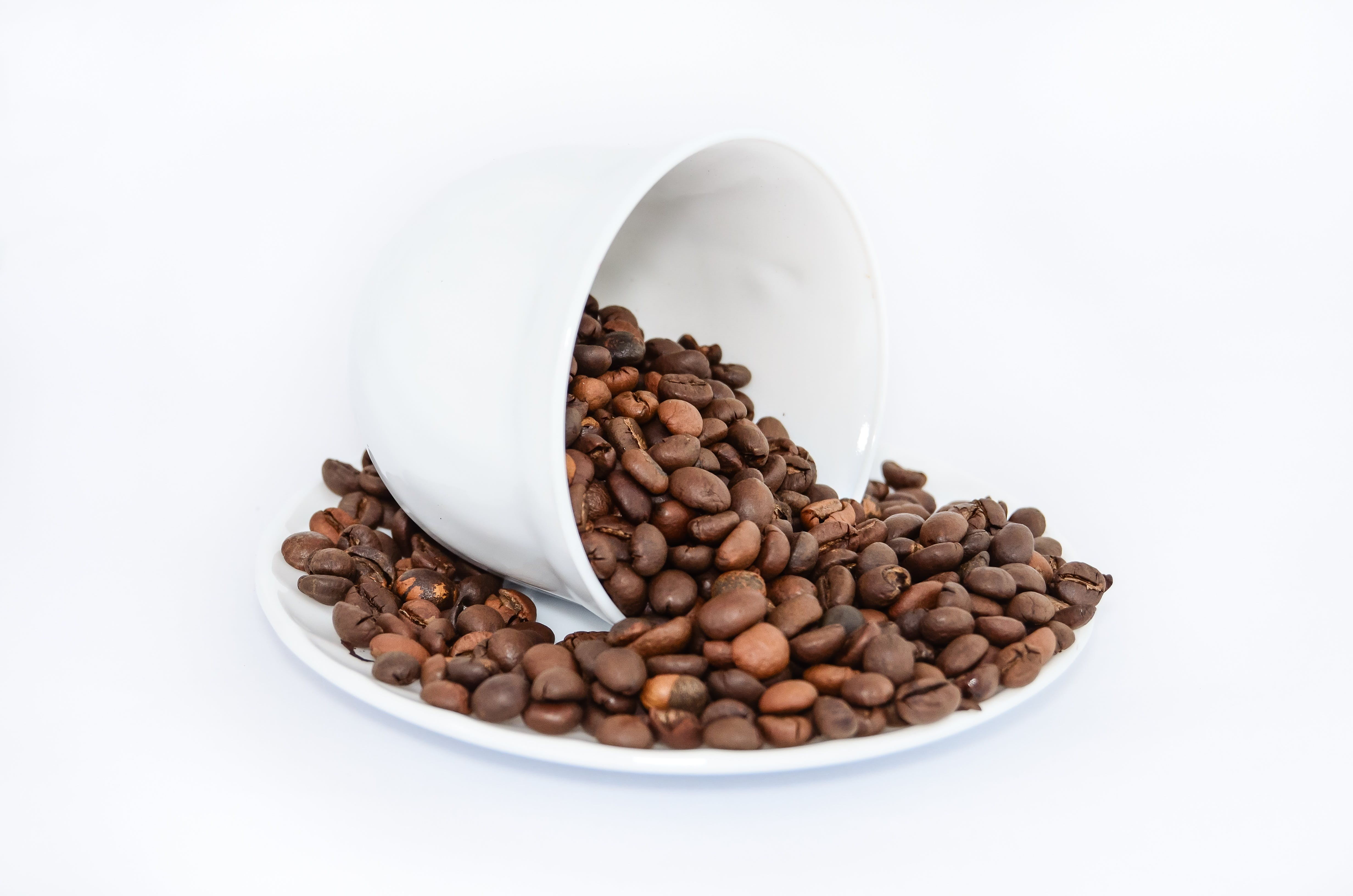 Coffee Beans on White Ceramic Saucer