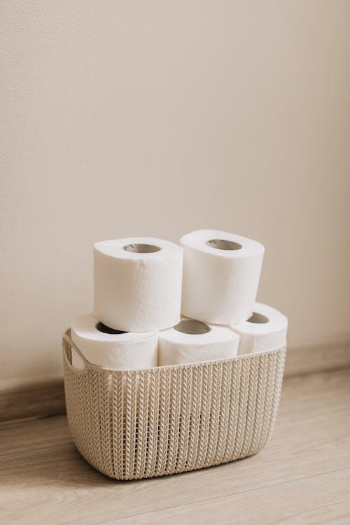 White Tissue Rolls on Basket
