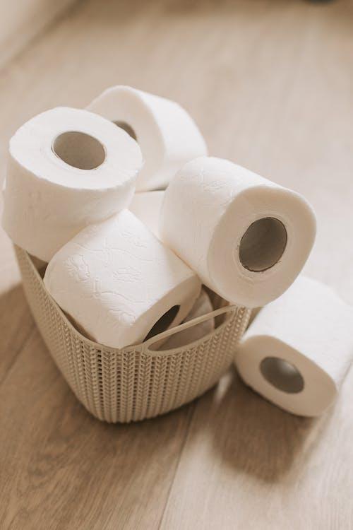 Toilet Paper Rolls on a Basket