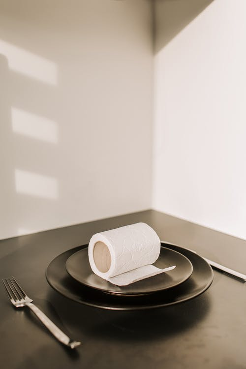 Toilet Paper Roll on Ceramic Plate
