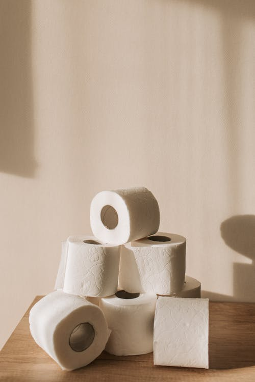 White Tissue Paper Roll on White Textile