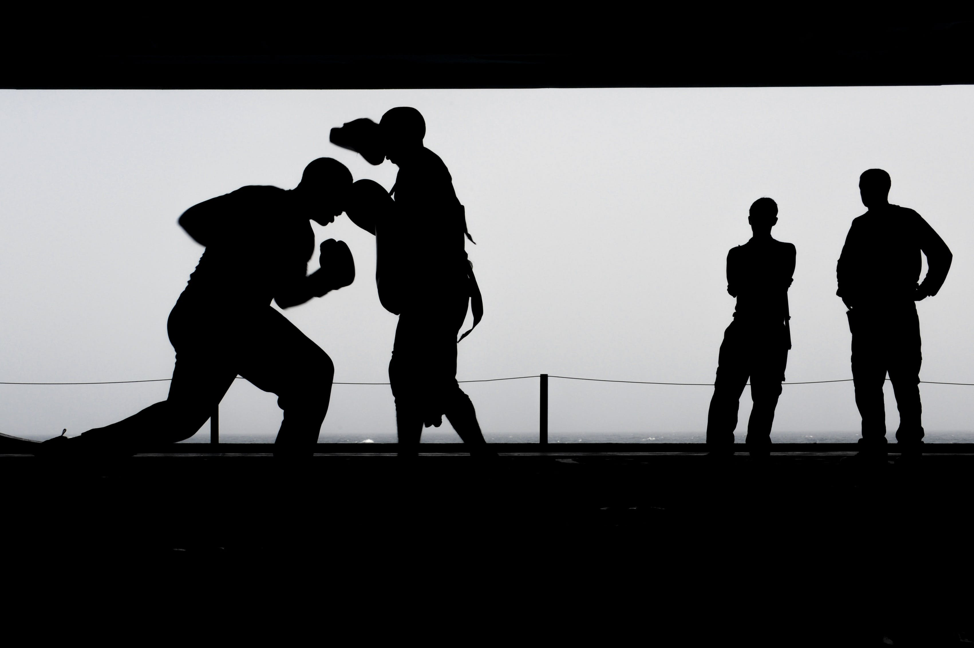 Silhouette Photo of a Men Fighting
