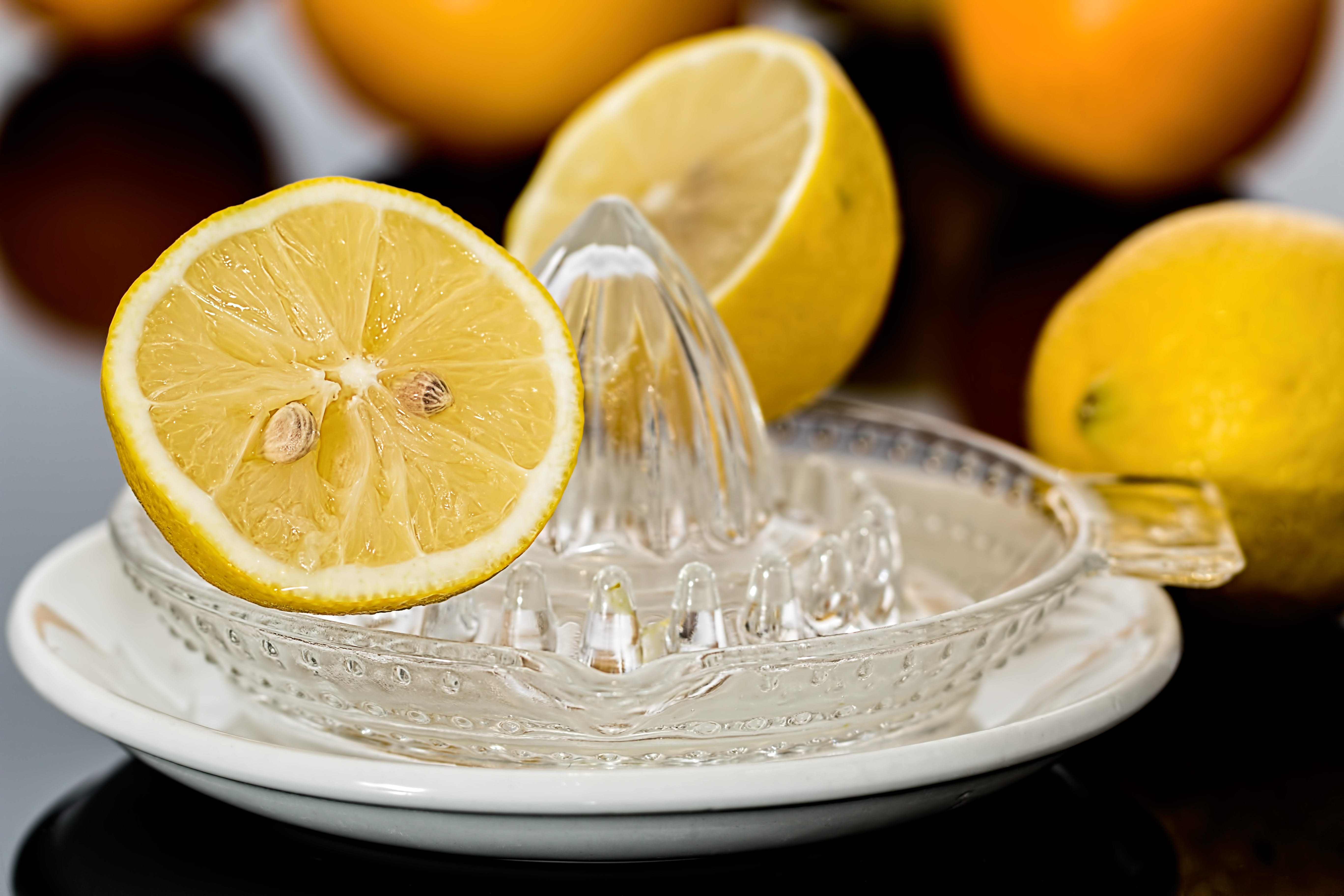 Yellow Lemonade on Clear Glass Saucer
