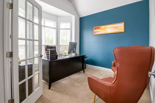 Office Room with Blue Wall