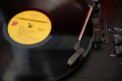 Black Vinyl Record On Vinyl Record Player