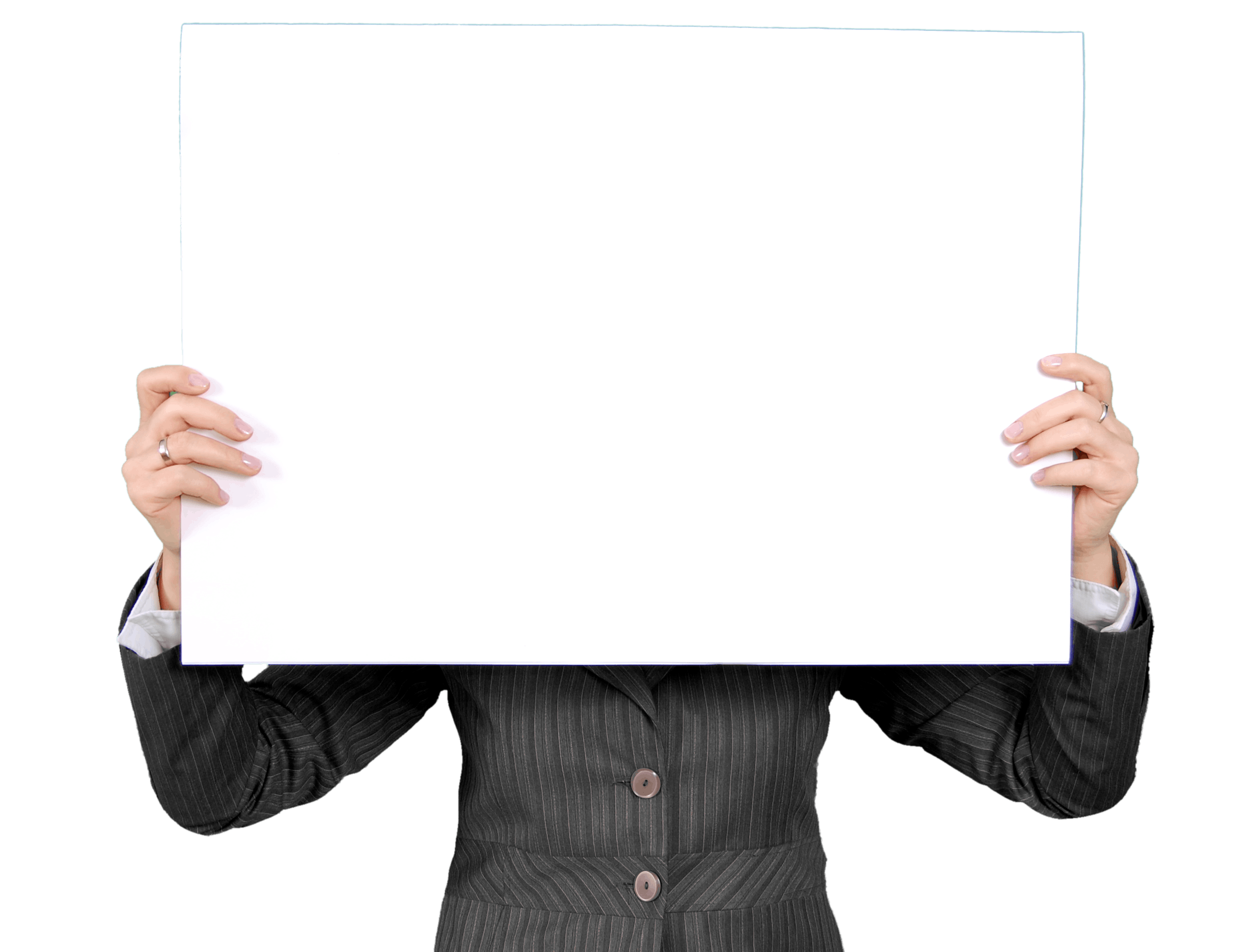 Person in a Black Coat Holding White Rectangular Board