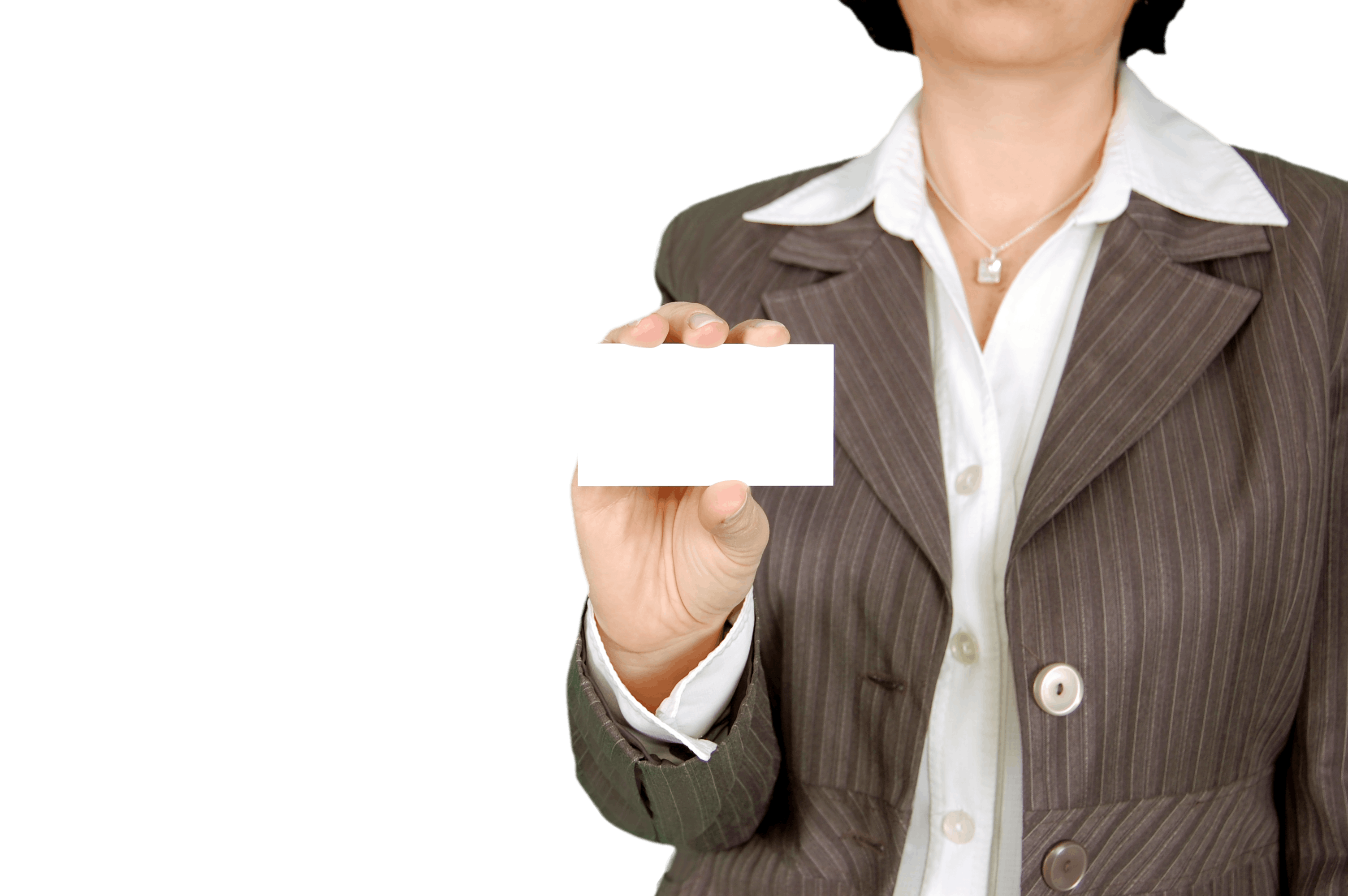 Woman in Brown Stripe Blazer Holding White Card