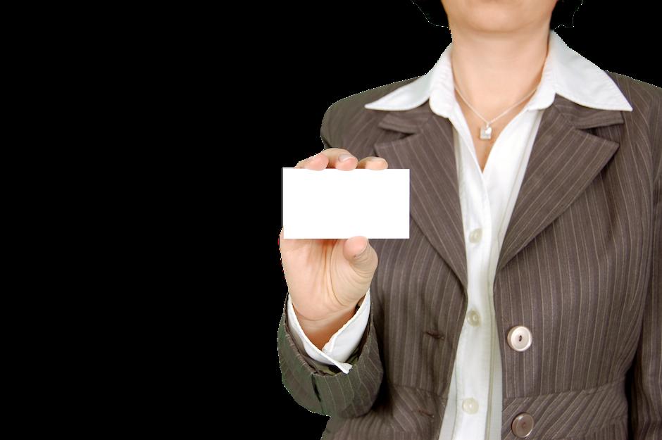 Woman in Brown Stripe Blazer Holding White Card