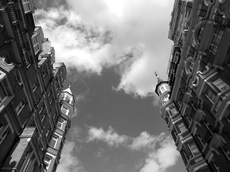 Free stock photo of black-and-white, city, sky, clouds