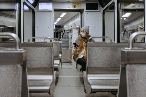 Woman Wearing Mask on Train