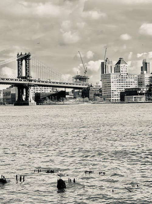 Grayscale Photo Of Bridge Over Water