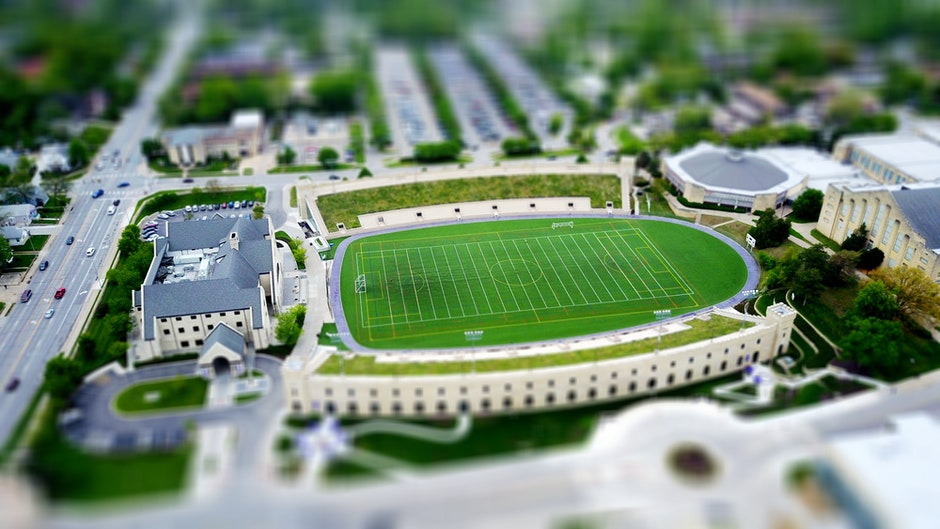 architecture, athletic field, blur