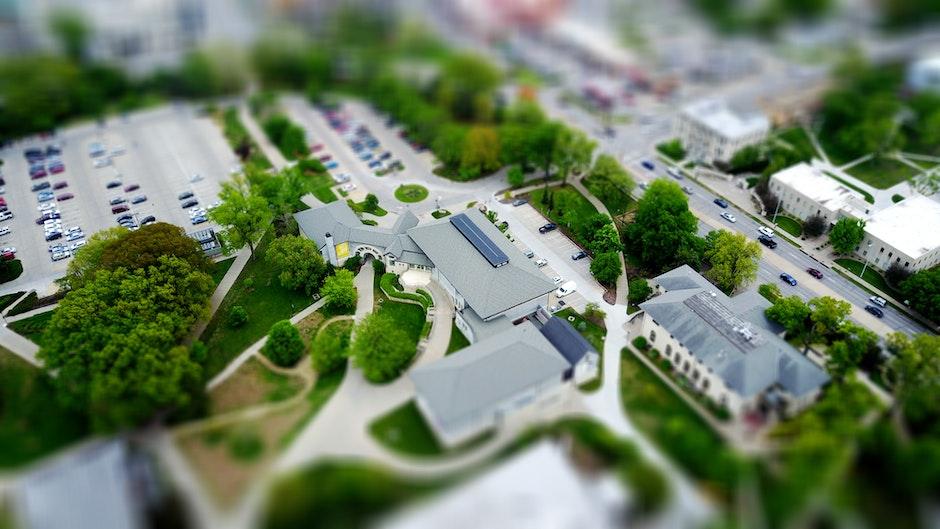 aerial, blur, bright