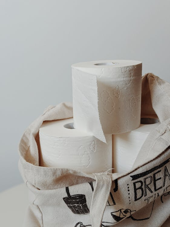 White Toilet Paper Rolls on Tote Bag