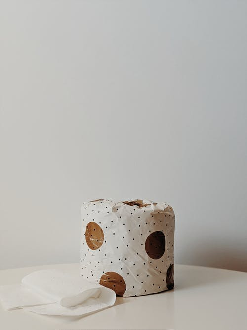 White and Brown Polka Dot Toilet Paper Packaging