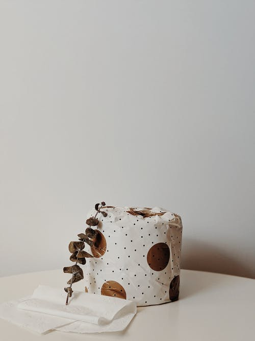 White and Brown Polka Dot Toilet Paper Roll