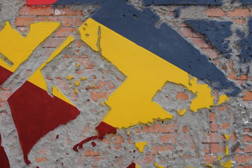 Yellow Red and Blue Concrete Wall