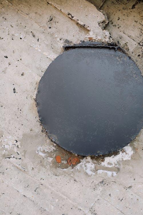Black Round Plate on Concrete Floor