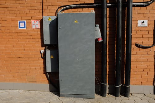 Industrial power cabinet installed on street