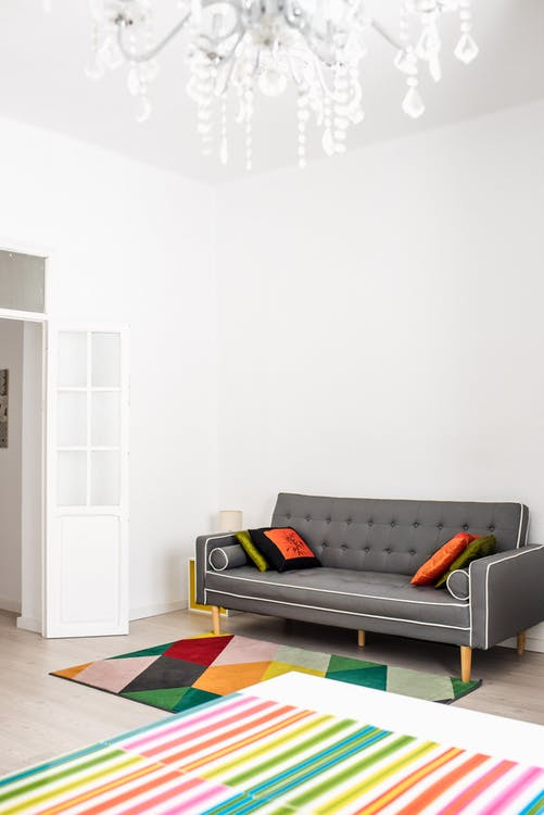Interior of modern living room of flat with mix design elements