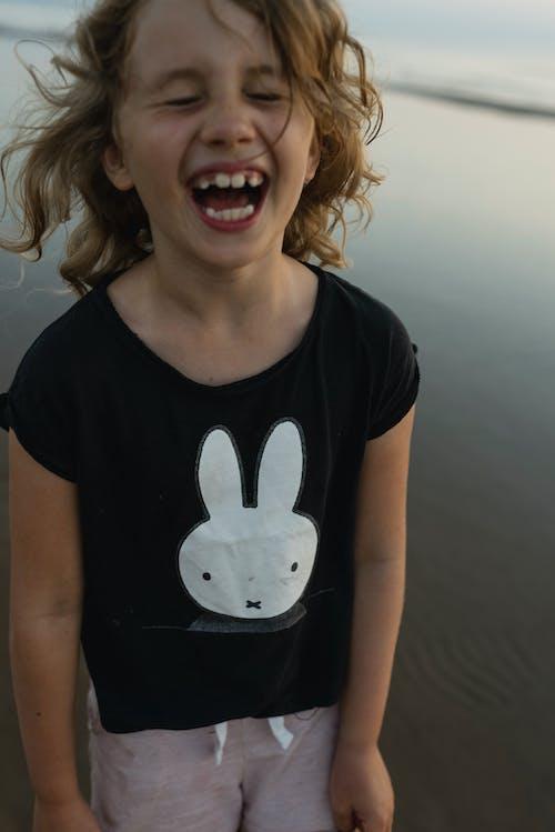 Smiling Child n Black and White Crew Neck T-shirt