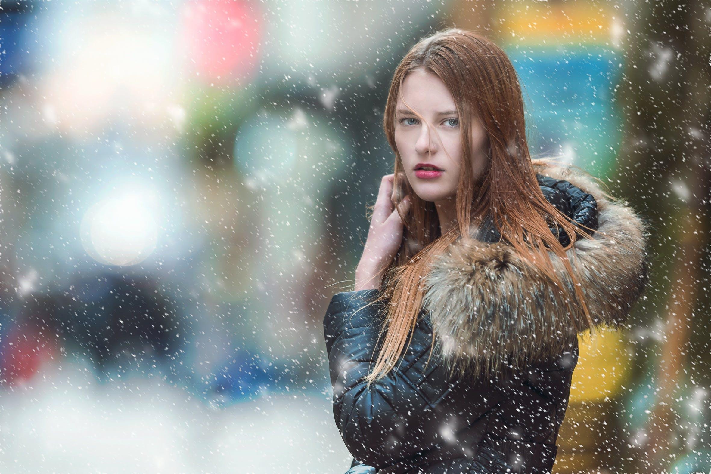 Woman Standing Outdoor Wearing Parka Jacket