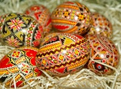straw, romania, easter eggs
