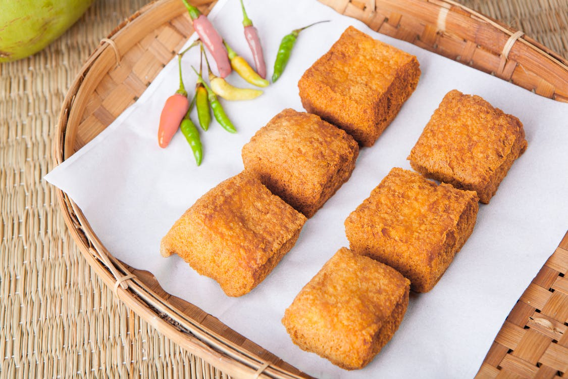 Fried Tofu on Bamboo Tray