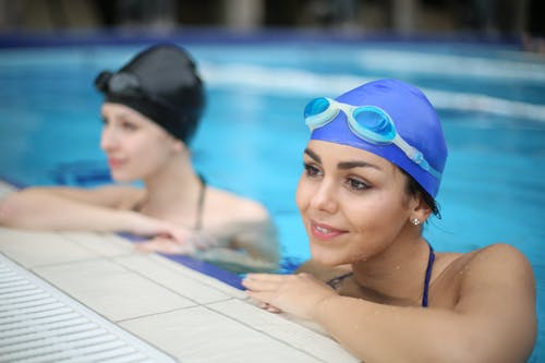 Woman in Blue Swimming Goggles