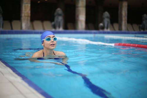 Woman in Swimming Goggles in Swimming Pool