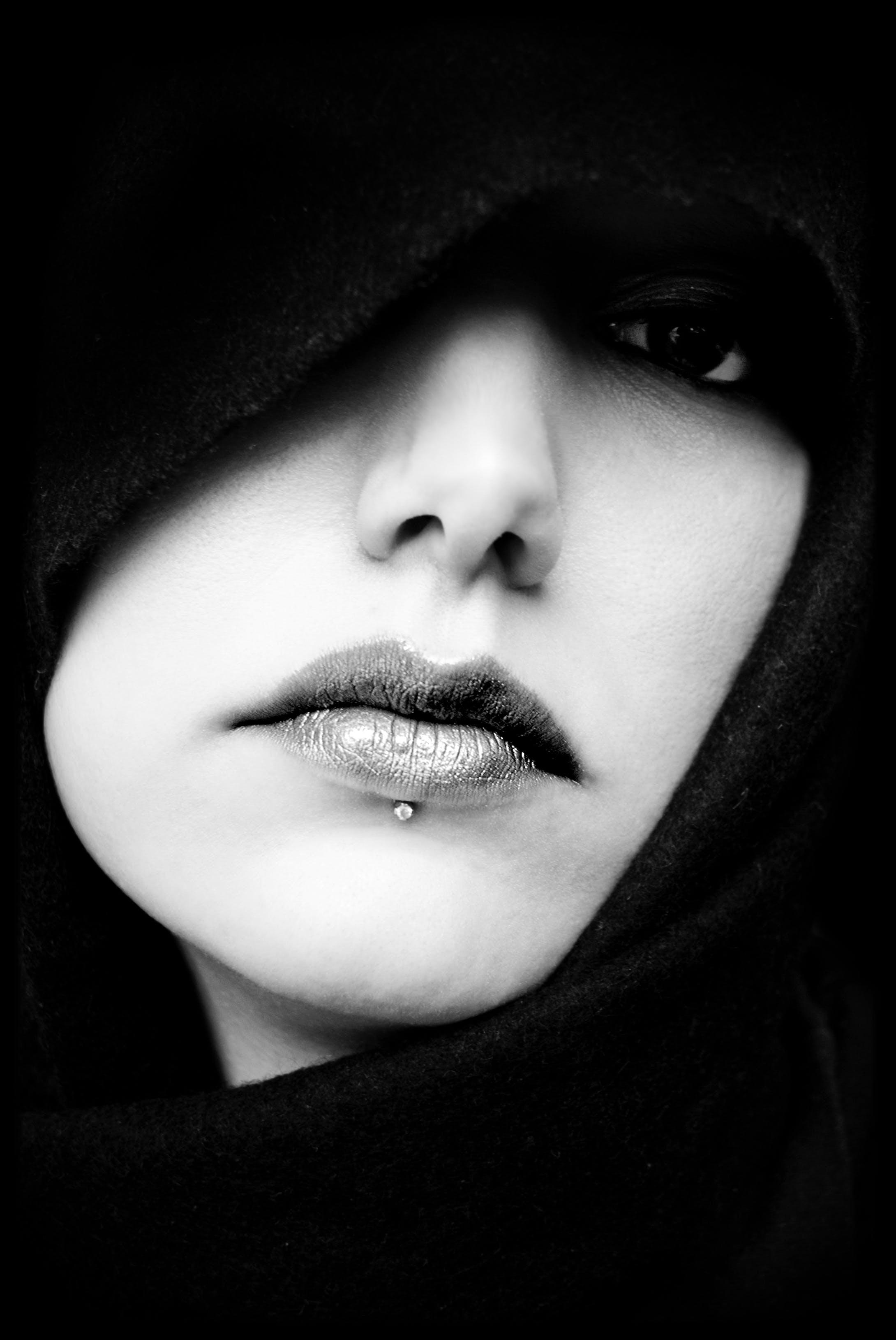 black-and-white, dark, face
