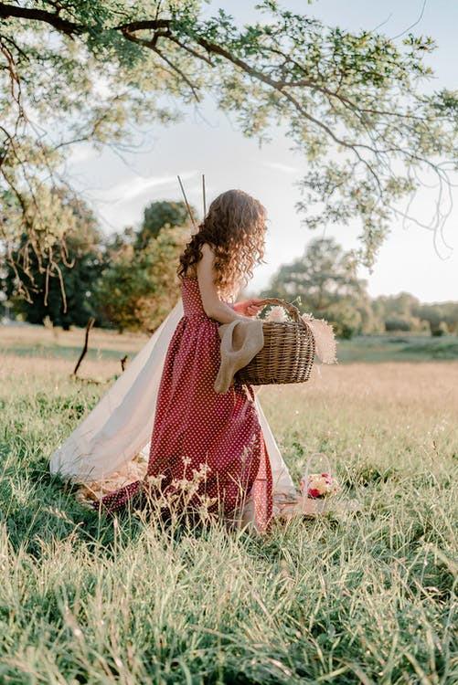 Woman in Red and White Polka Dot Dress Holding Brown Woven Basket on Green Grass Field