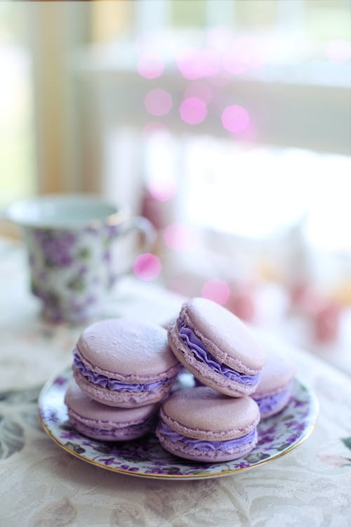Purple Macarons on Purple Floral Saucer