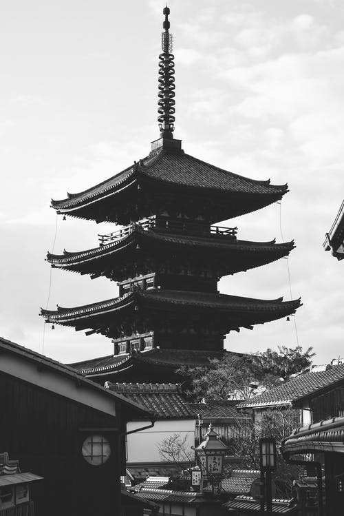 Grayscale Photo of Pagoda Temple