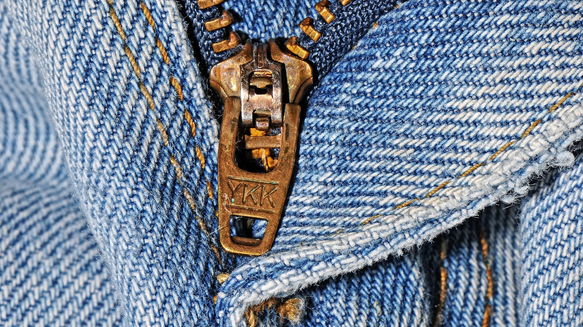 Brown Ykk Zipper and Blue Denim