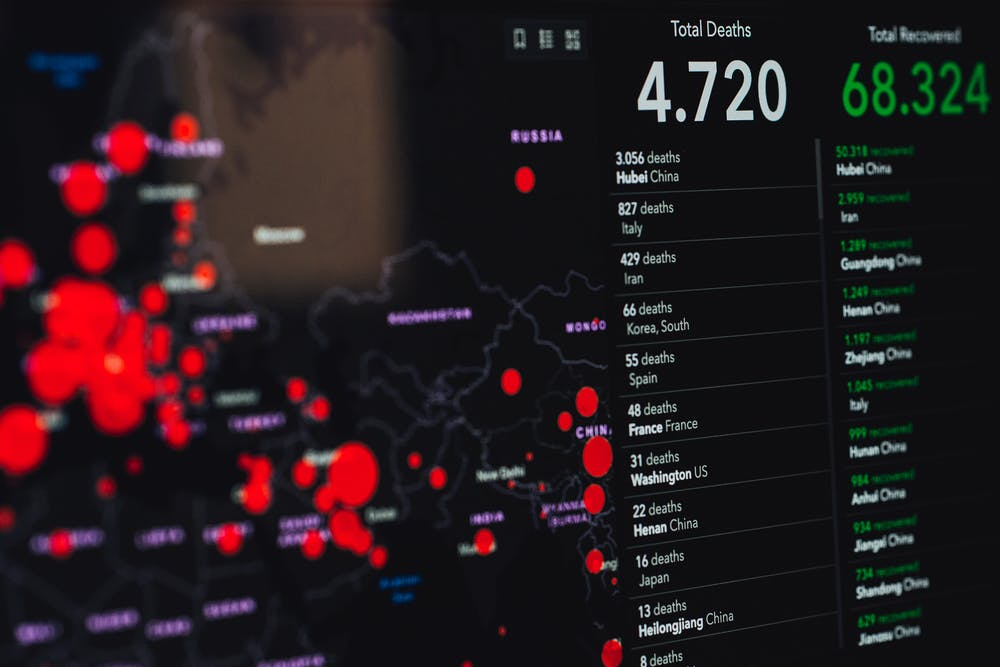 COVID-19 statistics on screen.   Photo: Pexels