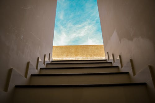 View Of The Sky From Staircase