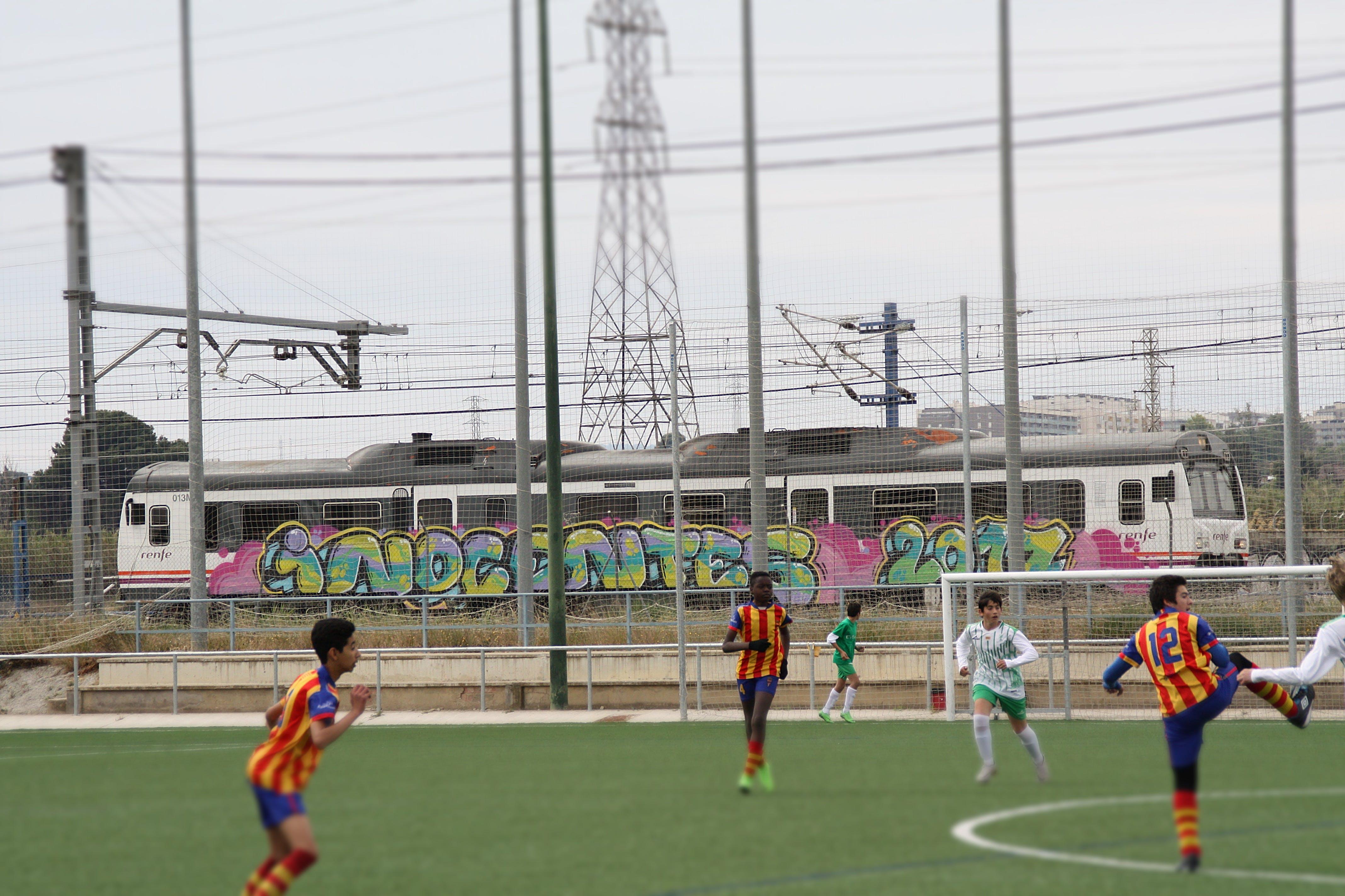 Free stock photo of fleta, football, graffiti, train