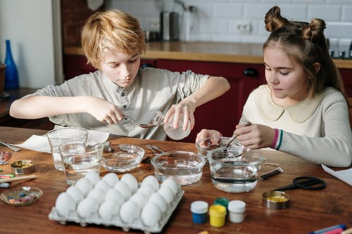 Kids Making Their Own Easter Eggs