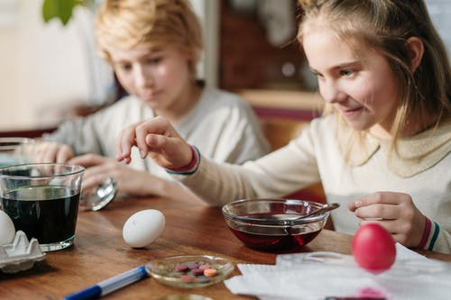 Kids Having Fun Making DIY Easter Eggs