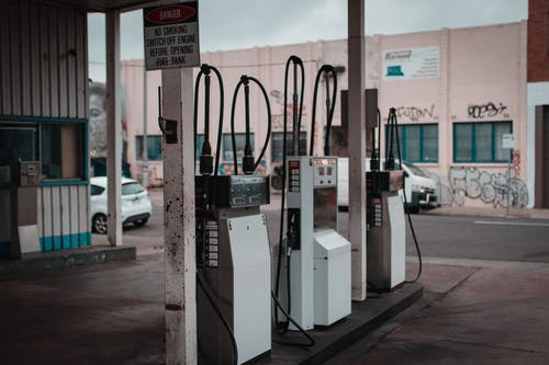 White and Black Gas Pumps