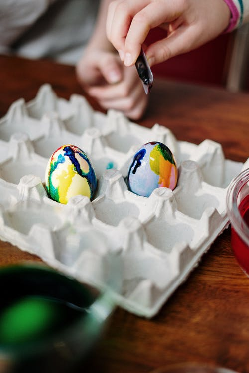 Two Colored Eggs on Tray