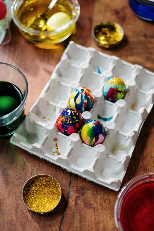 Selective Focus of Easter Eggs on Palette Tray