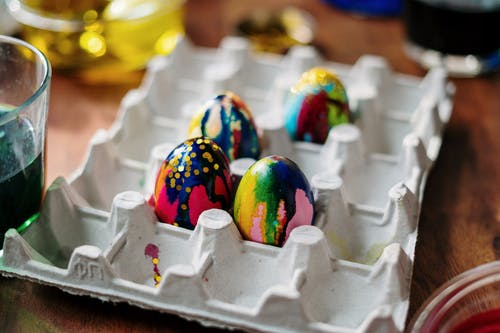 Colorful Easter Eggs on Egg Tray