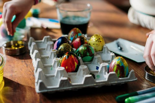 Colorful Easter Eggs with Glitters