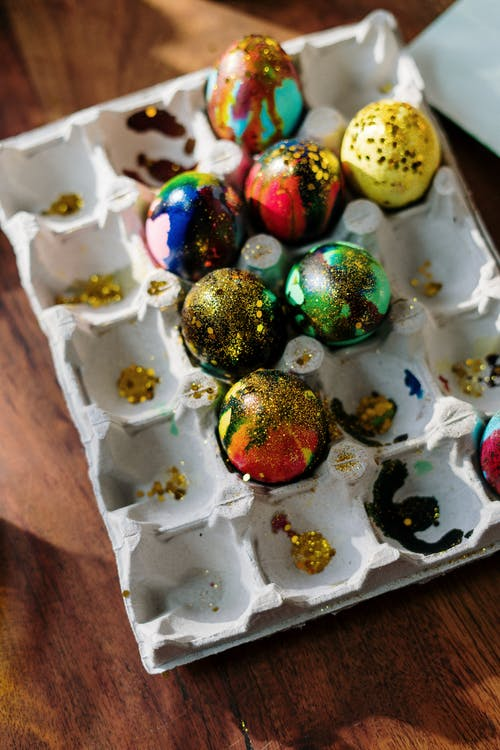 Close-Up Photo of Easter Eggs on a Tray