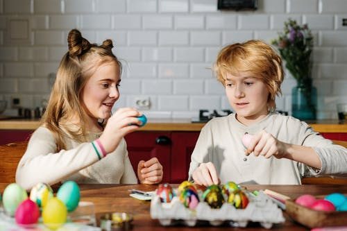 Kids Having Fun With Easter Eggs
