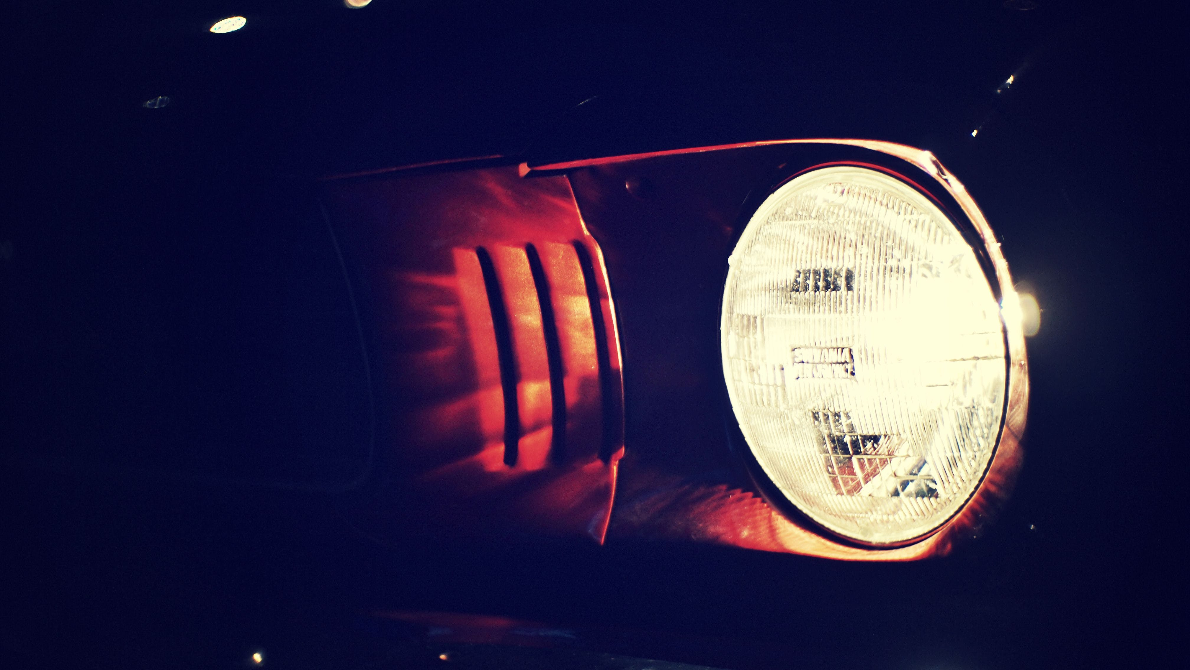 Free stock photo of american car, car lights, dark, ford